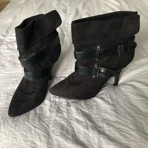 Rampage Black Heeled Suede Booties with Buckles